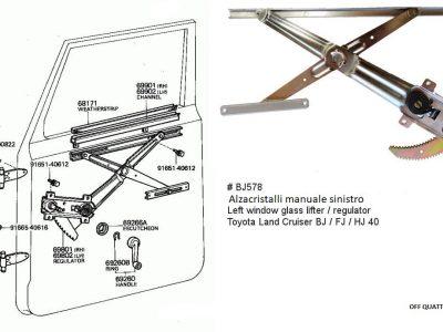 Alzacristalli manuale sinistro anteriore Toyota Land Cruiser BJ/FJ/HJ 40-0
