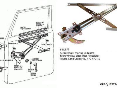 Alzacristalli manuale destro anteriore Toyota Land Cruiser BJ/FJ/HJ 40-0